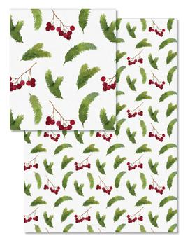 Watercolor Pine Branches and Red Berries Pattern