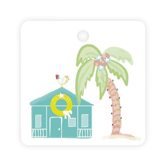 - Key West Holiday Tag Teal by Kelly Corcoran