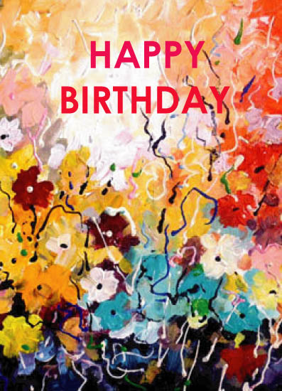 greeting card - Abstract Flowers Birthday Greetings Card by Samiran Sarkar