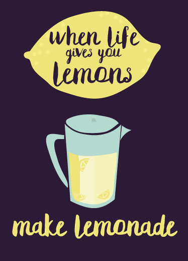 greeting card - lemons,lemonade, life and vodka by Kate Cawood
