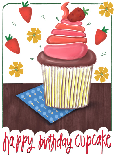 greeting card - Cupcake and Strawberries by pramila gupta