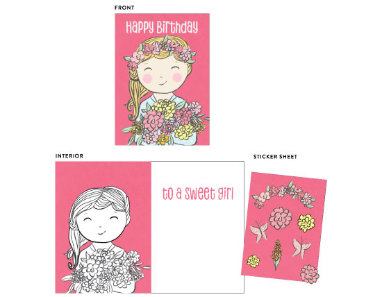 greeting card - Sweet girl by Ilze Lucero