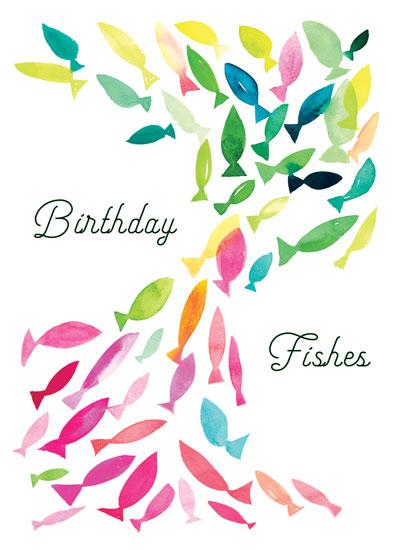 greeting card - Colorful Birthday Fishes by Jean Choe