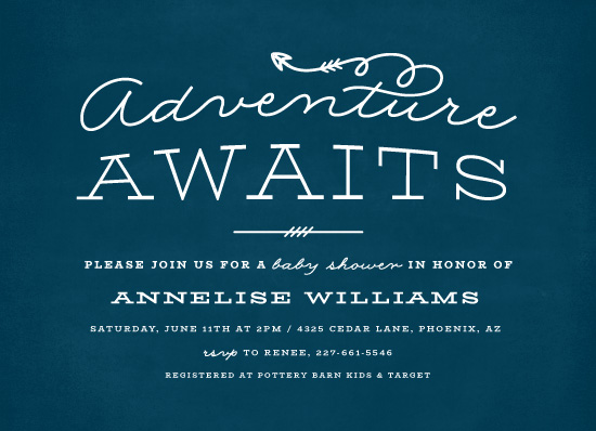 baby shower invitations - Adventure Awaits by Ink and Letter Designs