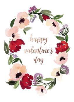 Anemones Singing Watercolor Valentine's Day