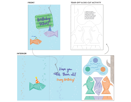greeting card - Birthday Fishes! by Sylvie Hanna