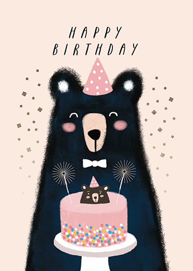 greeting card - Little bear and his cake by iamtanya