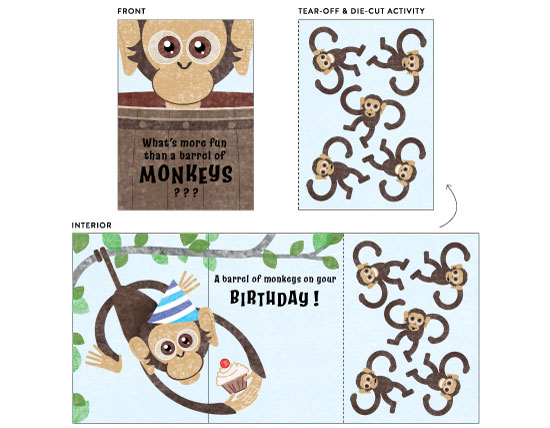 greeting card - Barrel of Monkeys by Debbie Quist