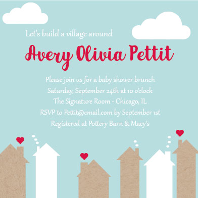 baby shower invitations - Build A Village by Heather Stewart