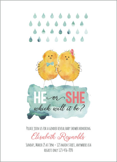 baby shower invitations - He or She Chicks by Karen Holcombe