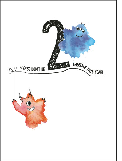 greeting card - TerribleTwo Monsters by Karen Holcombe