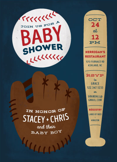 baby shower invitations - Baseball Baby by Ink and Letter