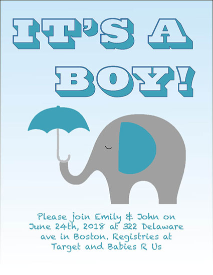 baby shower invitations - Baby Boy Elephant by Kendra Tibbals