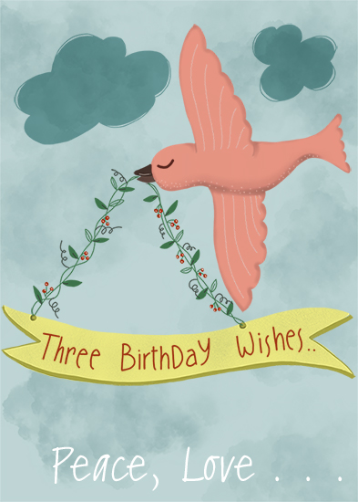 greeting card - Three Birthday Wishes by pramila gupta