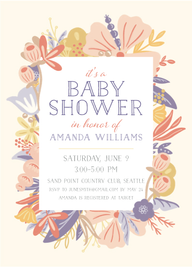 baby shower invitations - Floral Frame by Noonday Design