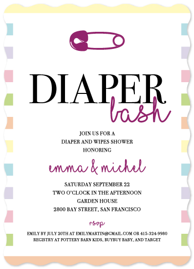 baby shower invitations - diaper&wipes by Sophia Sotelo