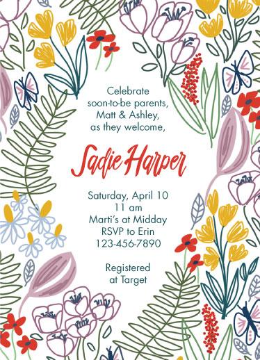 baby shower invitations - Butterfly Garden by Cindy Reynolds