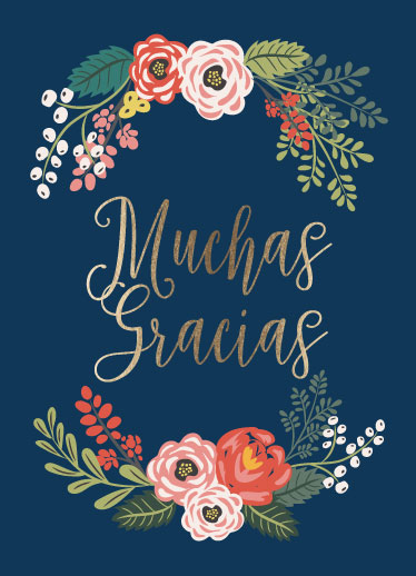 greeting card - Muchas Gracias Wreath by Chelsea And Marbles Paper