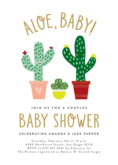 baby shower invitations - Aloe, Baby! by Erica Krystek