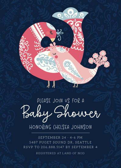 baby shower invitations - Mama and Baby Bird by Noonday Design