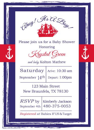 baby shower invitations - Sailor Baby Shower by Jennifer Warren