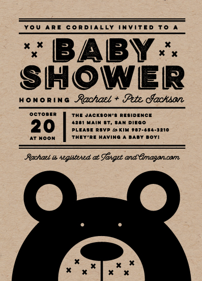 baby shower invitations - Hipster Bear by Katie Zimpel