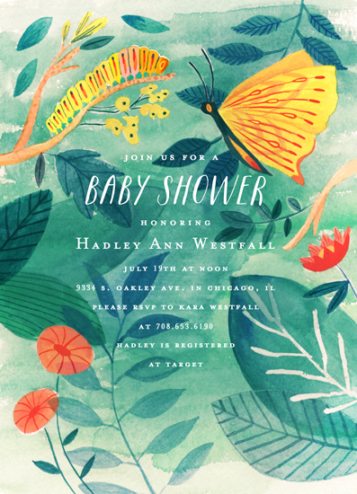 baby shower invitations - Caterpillar and Butterfly by Morgan Ramberg