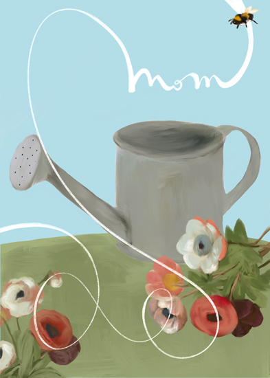 greeting card - bee and watering can by Alicia Abla