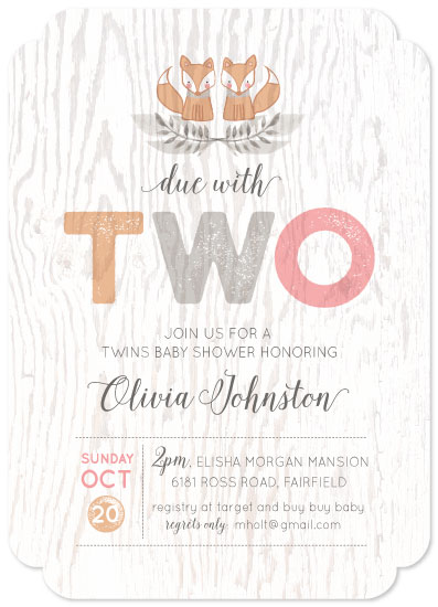 baby shower invitations - Woodland Twins by Susan Zinader