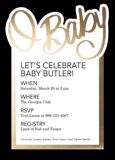 baby shower invitations - O Baby! by Cindy Reynolds