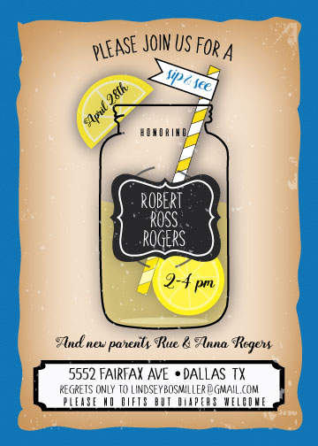 baby shower invitations - Sip&See Mason Jar by Charly Cobbs
