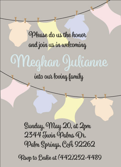 baby shower invitations - Baby Items on the Clothesline by Heather McLaughlin