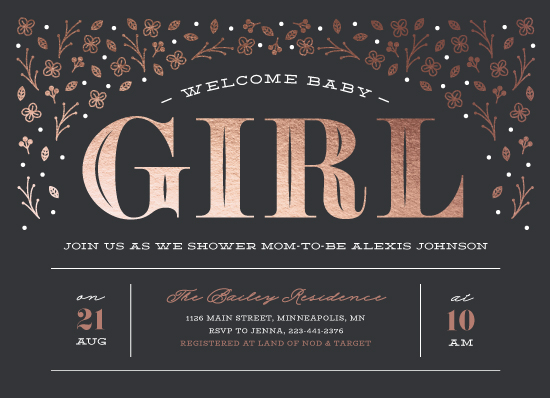 baby shower invitations - Welcome Baby Girl by Ink and Letter