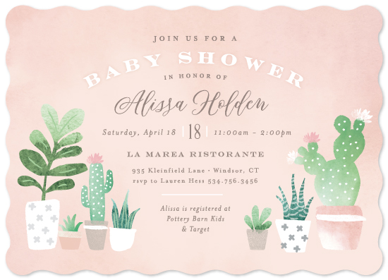 baby shower invitations - Watercolor cactus by Jennifer Wick