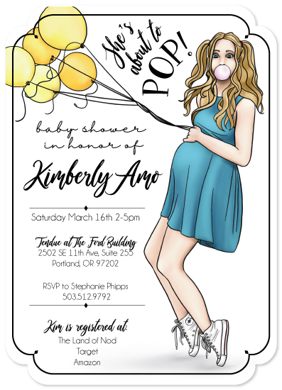 baby shower invitations - She's about to POP! by Sue