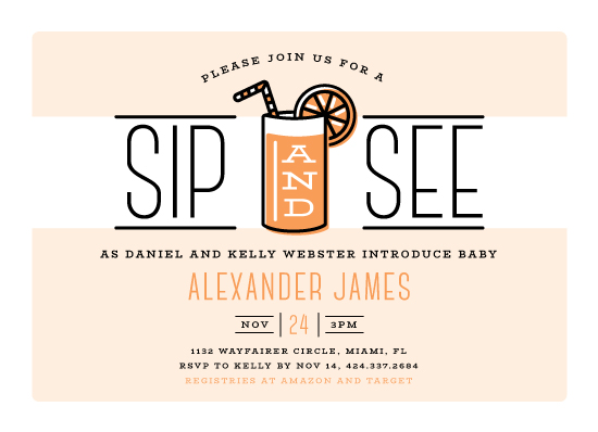 baby shower invitations - Sip and See by Ink and Letter Designs