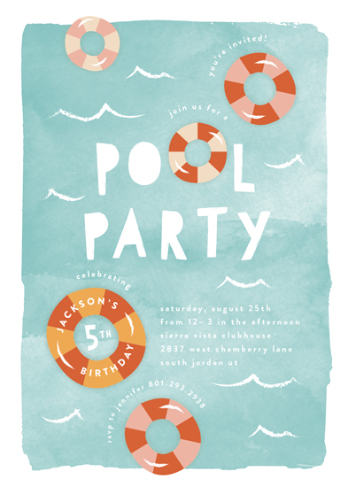 birthday party invitations - Pool Party by Robert and Stella