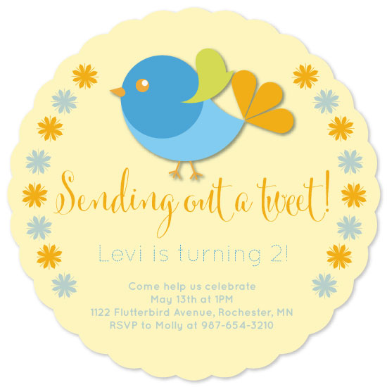 birthday party invitations - Sending out a Tweet by Sunny Pea