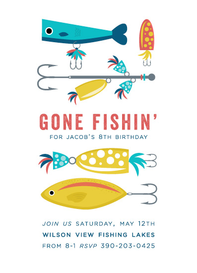 birthday party invitations - Gone Fishin' by Bethany Anderson