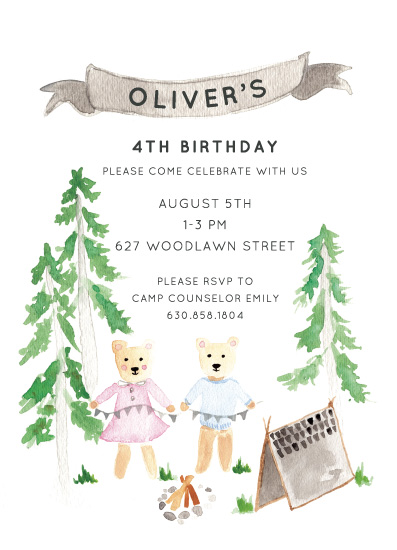 birthday party invitations - Woodland Camping Birthday by Cake and Flower Paper
