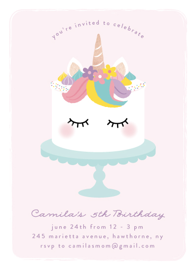 birthday party invitations - Sweet unicorn by Annie Holmquist