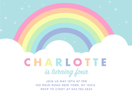 birthday party invitations - Pastel Rainbow Sparkles by Maria Alou