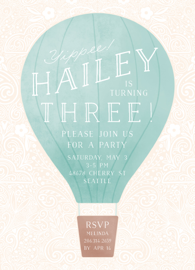 birthday party invitations - Hot Air Balloon Birthday by Noonday Design