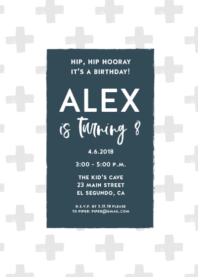 birthday party invitations - Rustic Gray and Blue Boy Birthday Invite by Paper Etiquette
