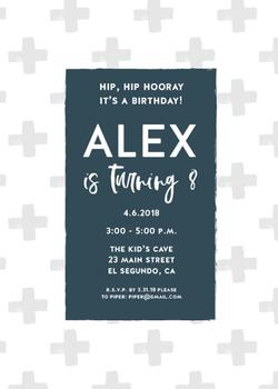 Rustic Gray and Blue Boy Birthday Invite