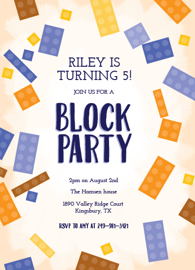 birthday party invitations - Block Party by Inkblot Design