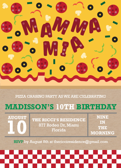 birthday party invitations - Pizza Party by Nadia Irianto