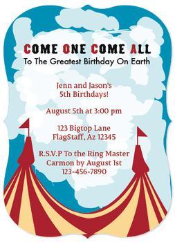 circus b-day invitation