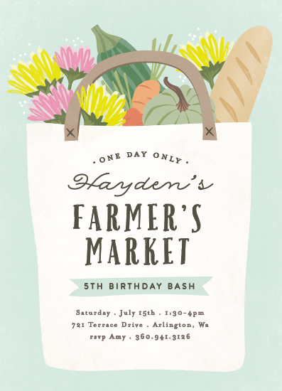 birthday party invitations - farmers market bag by Karidy Walker
