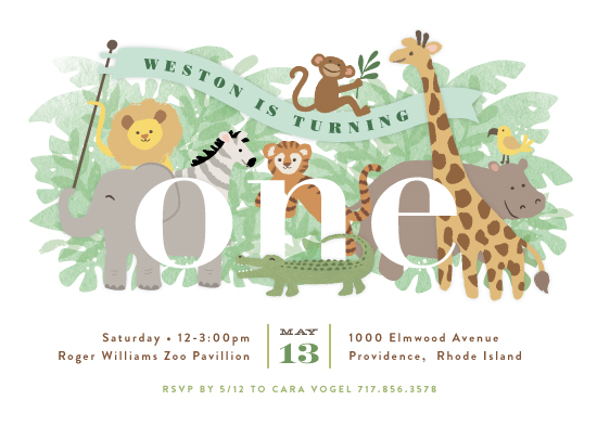 birthday party invitations - Jungle One by Jennifer Wick